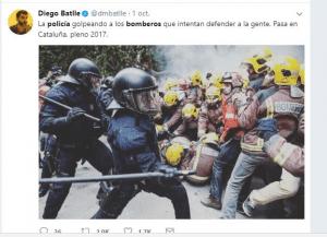 Diego Batlle de La Nación también manipuló con imágenes que no correspondían al 1-O. Usó imágenes correspondientes al 2013.