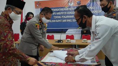 Rawan Kampanye Hitam. KPU Wonogiri Jalin MoU dengan Polres Wonogiri Terkait Pengamanan Pilkada 2020