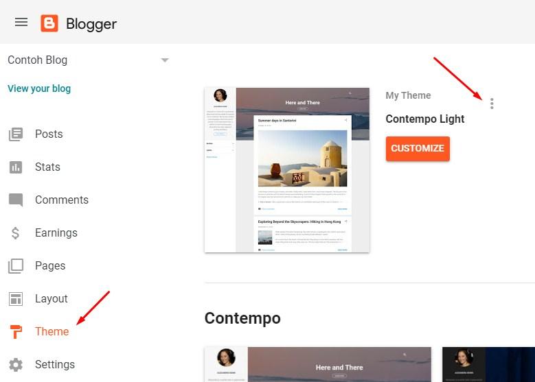 Menu Tema Blogger
