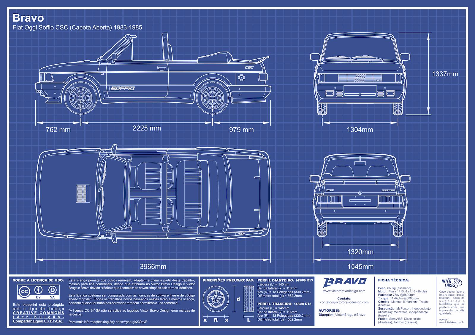 Imagem mostrando o desenho do blueprint do Bravo Fiat Oggi Soffio CSC (Capota Aberta) 1983-1985