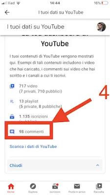 4. visualizzare propri commenti youtube app iphone android_risultato