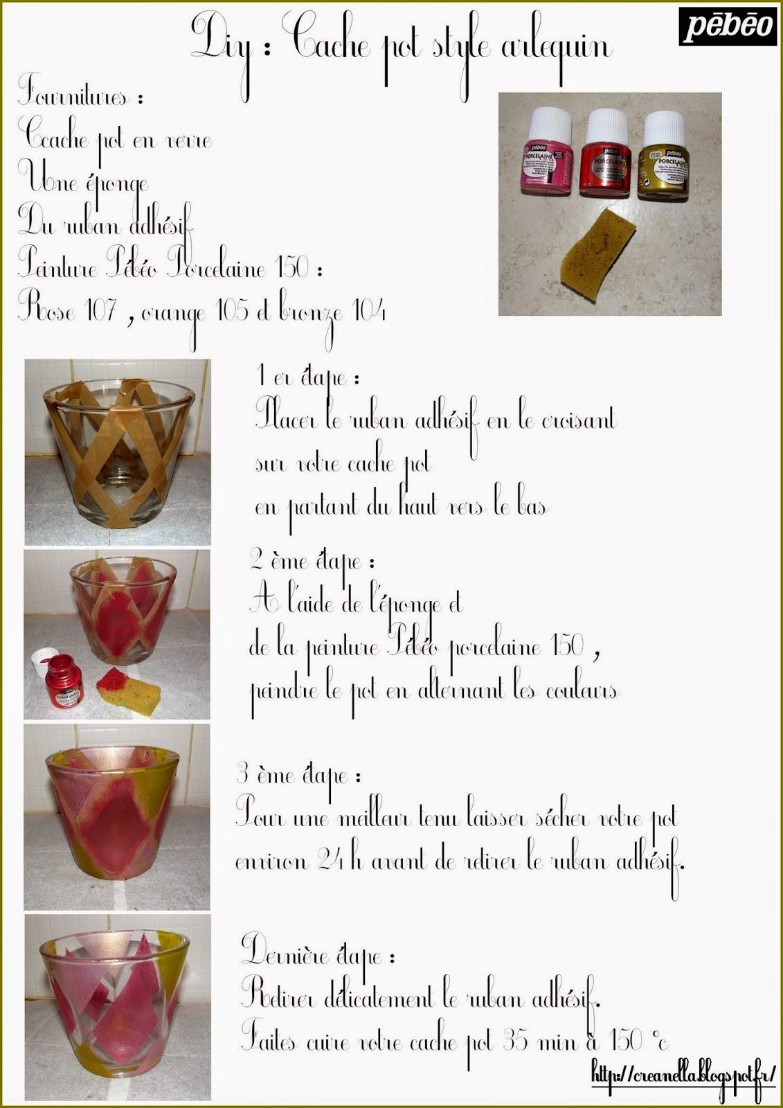 Tuto Peinture Sur Porcelaine créanella atelier créatif: diy : cache pot style arlequin
