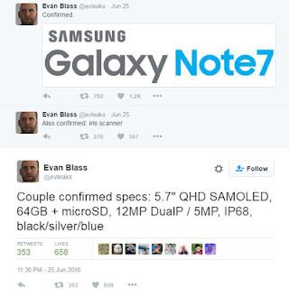 Más tarde posible! Especificaciones Samsung Galaxy Note 7