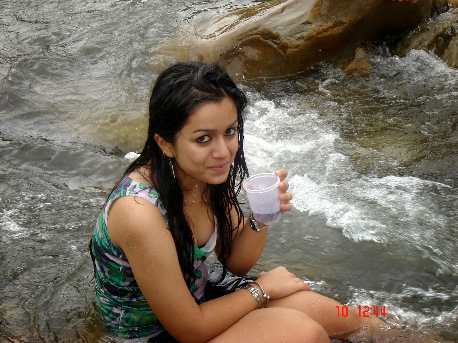 Indian girls bathing