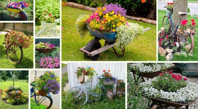 50+ Ιδέες διαμόρφωσης κήπου με Ποδήλατα - Καρότσια