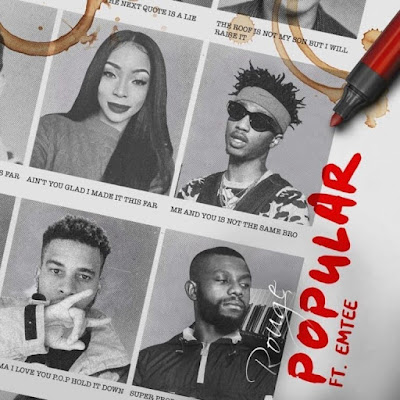 South African Fierce rapper, Rouge switch up her sound with a brand new groovy record dubbed 'Popular'. Rouge features Ambitiouz diversion performing artist, Emtee.