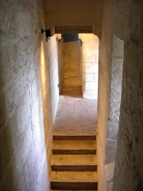 Staircase in the Agnes Sorel tower, Loches.  Indre et Loire, France. Photographed by Susan Walter. Tour the Loire Valley with a classic car and a private guide.
