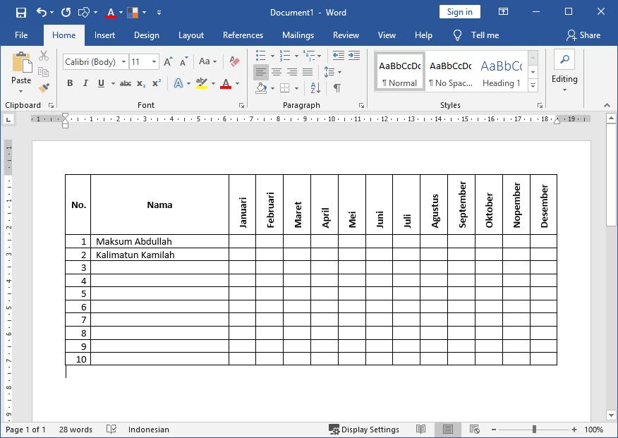 Cara Membuat Teks / Tulisan Miring Vertikal pada Judul Kolom Tabel Microsoft Office Word