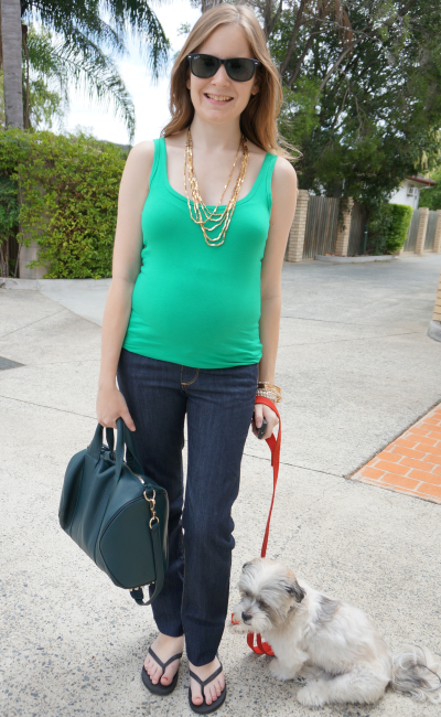 Away From Blue Second trimester Pregnancy Outfit Australia Day green and gold tank and jeans