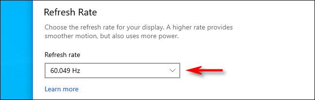"""انقر على القائمة المنسدلة """"معدل التحديث"""" وحدد السعر الذي ترغب في استخدامه."""