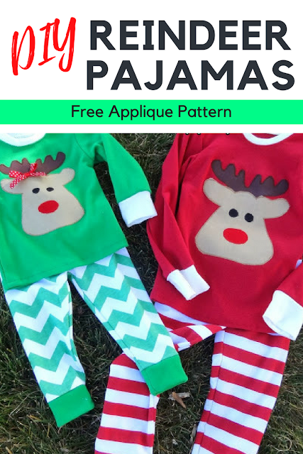Simple Reindeer Pajamas Applique Pattern