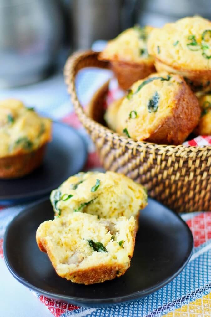 Loaded Breakfast Muffins in a basket