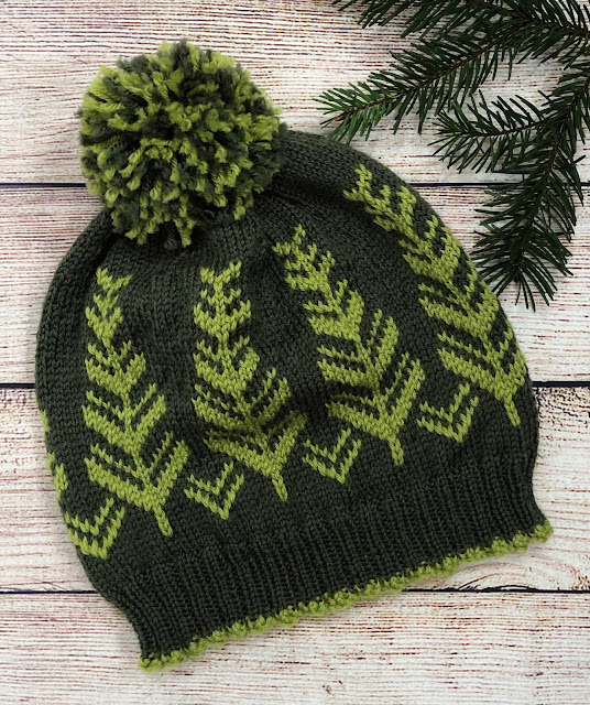 Green hat knitted with Baby Ull by Dale Garn using Inner Circle pattern