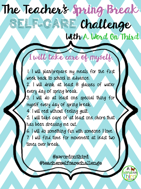 A Teacher Self-Care Challenge By A Word On Third