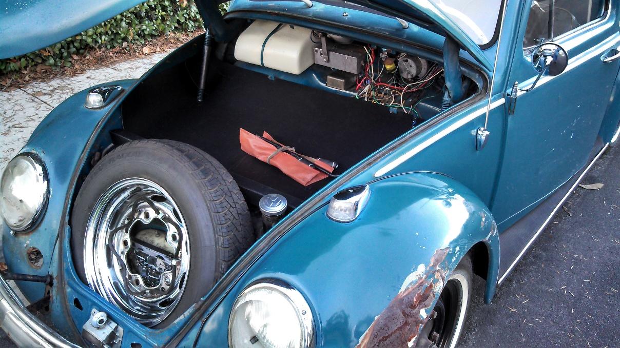 front compartment mat liner wiring cover allison 39 s 1964 vw beetle ellie. Black Bedroom Furniture Sets. Home Design Ideas