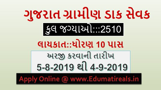 Gujarat Recruitment for 2510 Gramin Dak Sevak