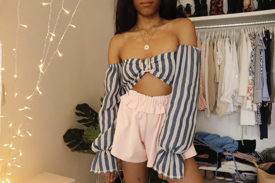 DIY off the shoulder crop top with puffy sleeves