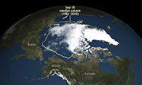 Arctic sea ice this summer shrank to its second lowest level since scientists started to monitor it by satellite. (Credit: AP) Click to Enlarge.