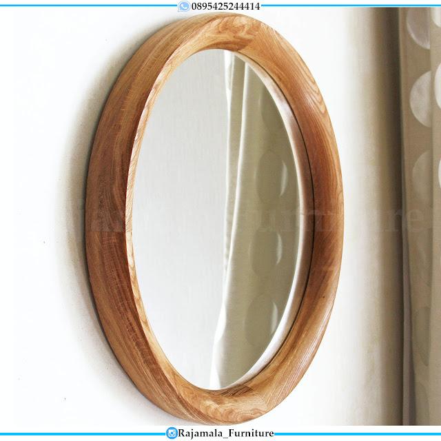 Cermin Hias Oval Minimalis Kayu Jati Design Classic Natural Set RM-0406