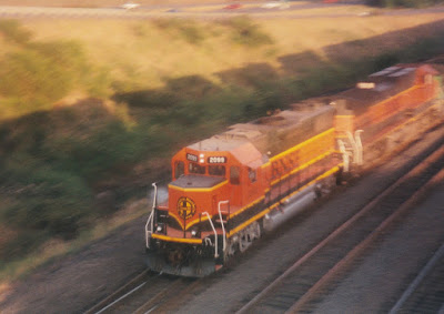 BNSF GP38-2 #2099 in Kalama, Washingon, on July 13, 1997