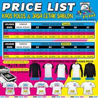 Daftar Harga Cetak Sablon Kaos Satuan Jatibarang