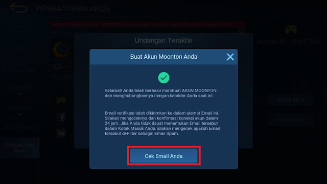 Cek Email Akun Moonton Mobile Legends