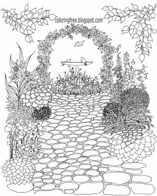 Vine archway patio detailed art printable drawing ideas beautiful garden coloring page for grown-ups