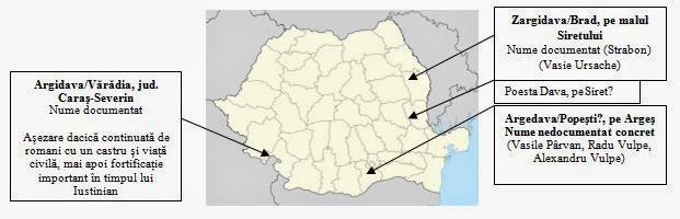 Argidava, Zargidava pe harta Romaniei
