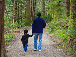 Back side of father and son holding hands while walking down a wooded path