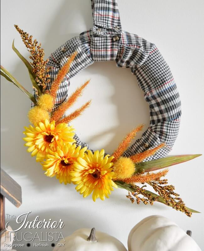 Flannel Shirt Sleeve Fall Wreath