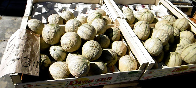 Charentais melons at the market. Indre et Loire. France. Photo by Loire Valley Time Travel.