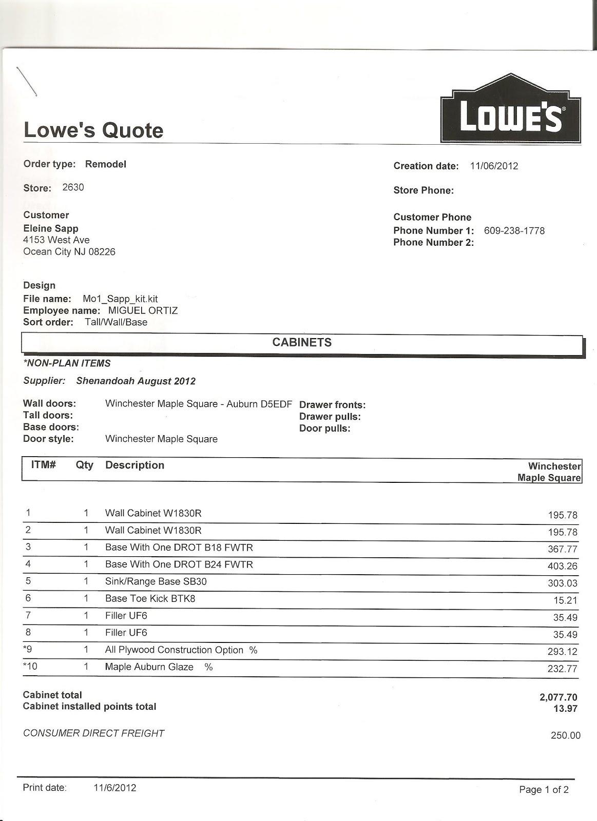 Kitchen Cabinet Invoice And New Estimate