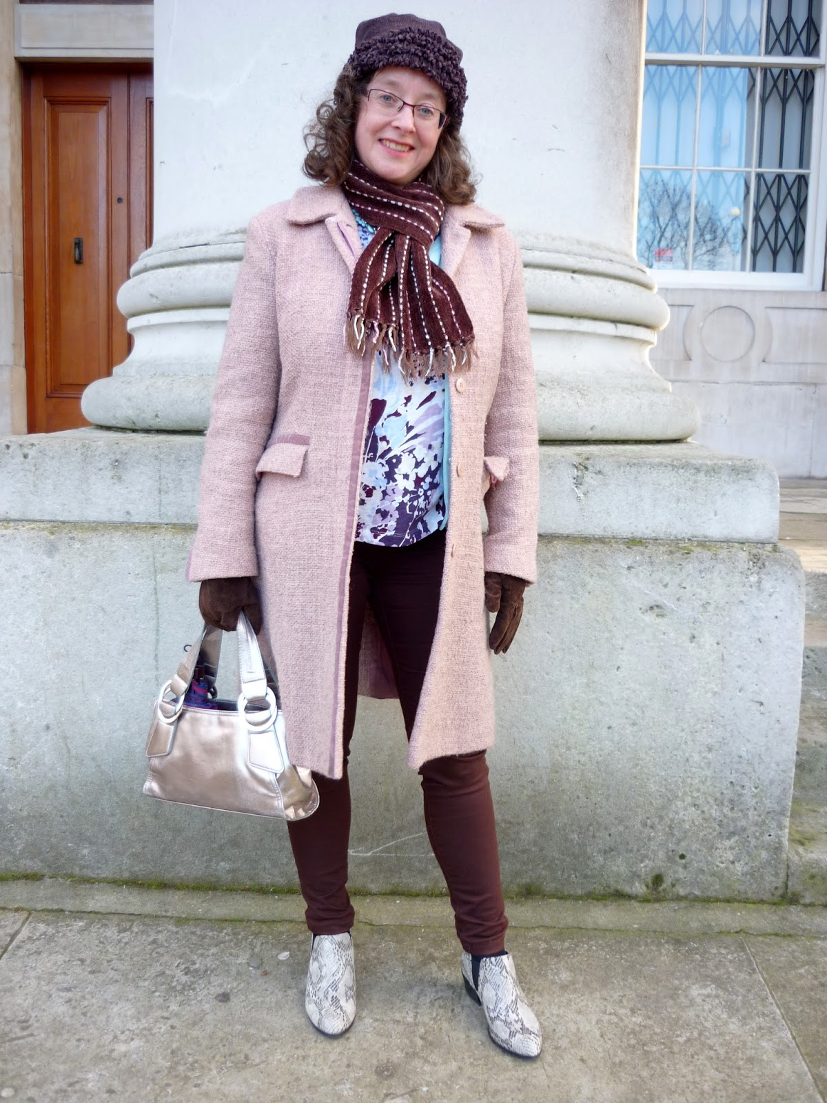 Rose Quartz Coat, Brown Jeans, Lands End Top | Petite Silver Vixen