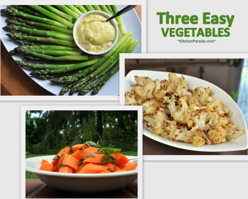 Three Easy Vegetables ♥ KitchenParade.com, Roasted Cauliflower, Honey Carrots & Lemon Asparagus