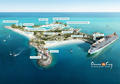 Artists Rendering of MSC Cruises' Private Island in the Bahamas - Ocean Cay.- visited on Miami cruises