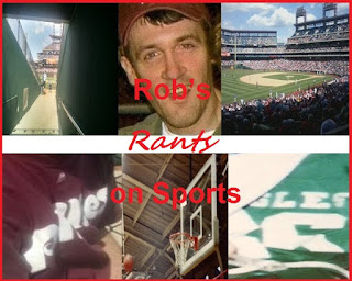 Rob's Rants on Sports logo featuring various stadiums and jerseys from the area and Rob