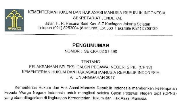 Pengumuman Resmi Penerimaan CPNS Mahkamah Agung dan Kementerian Hukum dan HAM RI Tahun Anggaran 2017
