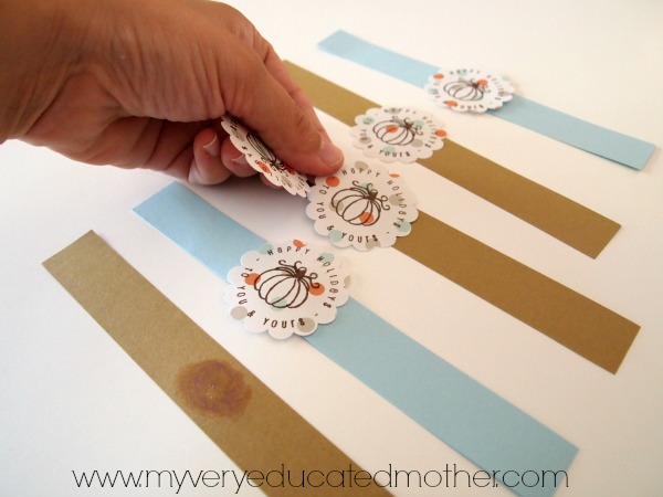 Making Stamped Napkin Rings using stamps from PSA Essentials for this Thanksgiving dinner!