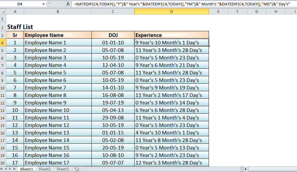 DATEDIF Formula Calculate Experience in Excel one line formula |Excel Formula | Excel Function