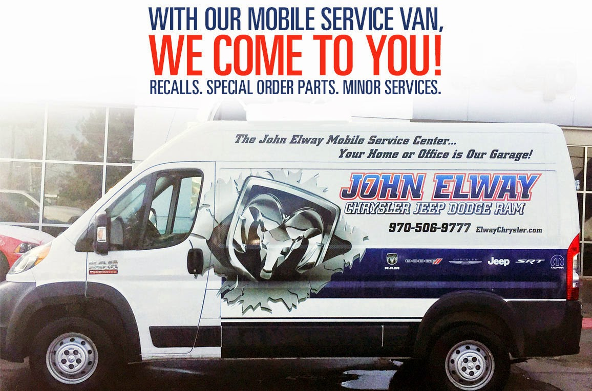 It S Never Been Easier To Get Your Vehicle Serviced With John Elway Chrysler Jeep Dodge Ram New Mobile Service Van Launched Two Months Ago