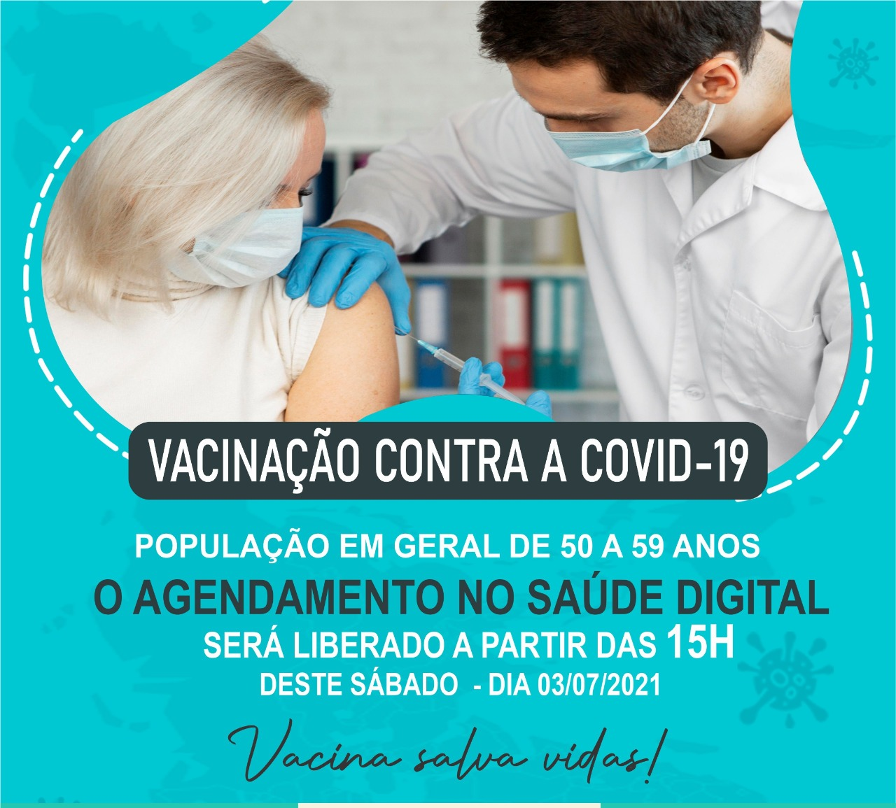 Aurora abre amanhã, sábado (3), agendamento para vacinar população em geral de 50 a 59 anos
