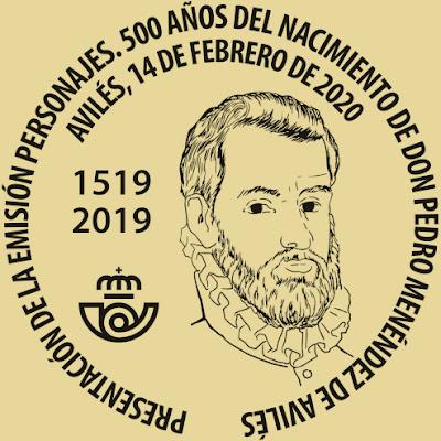 Matasellos, presentación, sello, Pedro Menéndez, Avilés