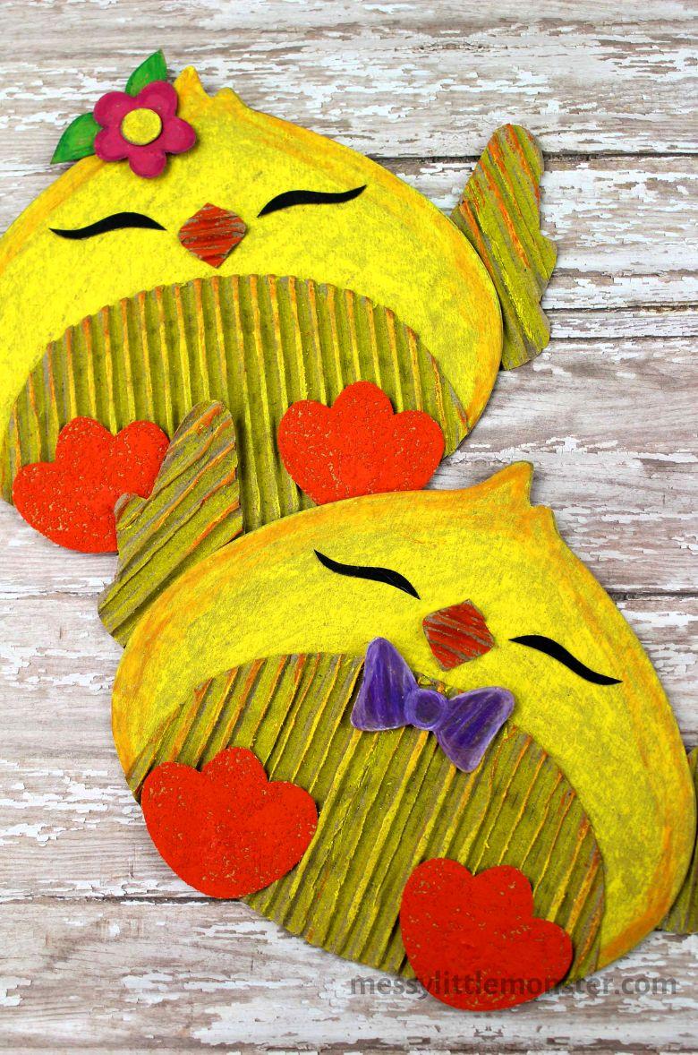 Spring crafts for kids - cardboard chick craft