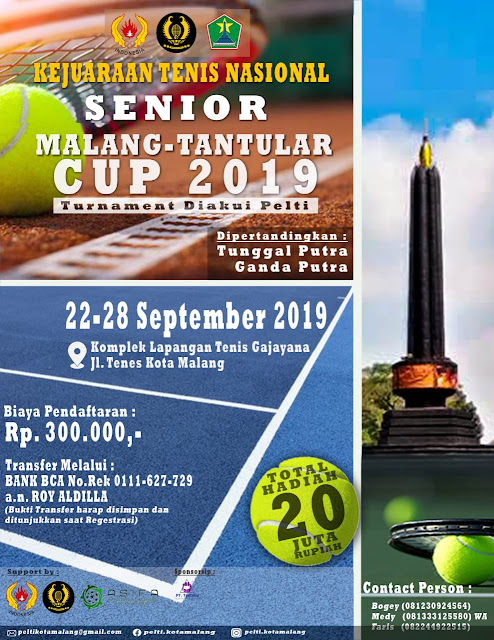 Kejurnas Tenis Senior Malang - Tantular Cup 2019: Daftar Peserta