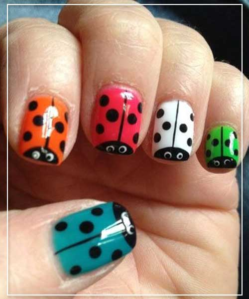 Lady Bug Prints Nail Design