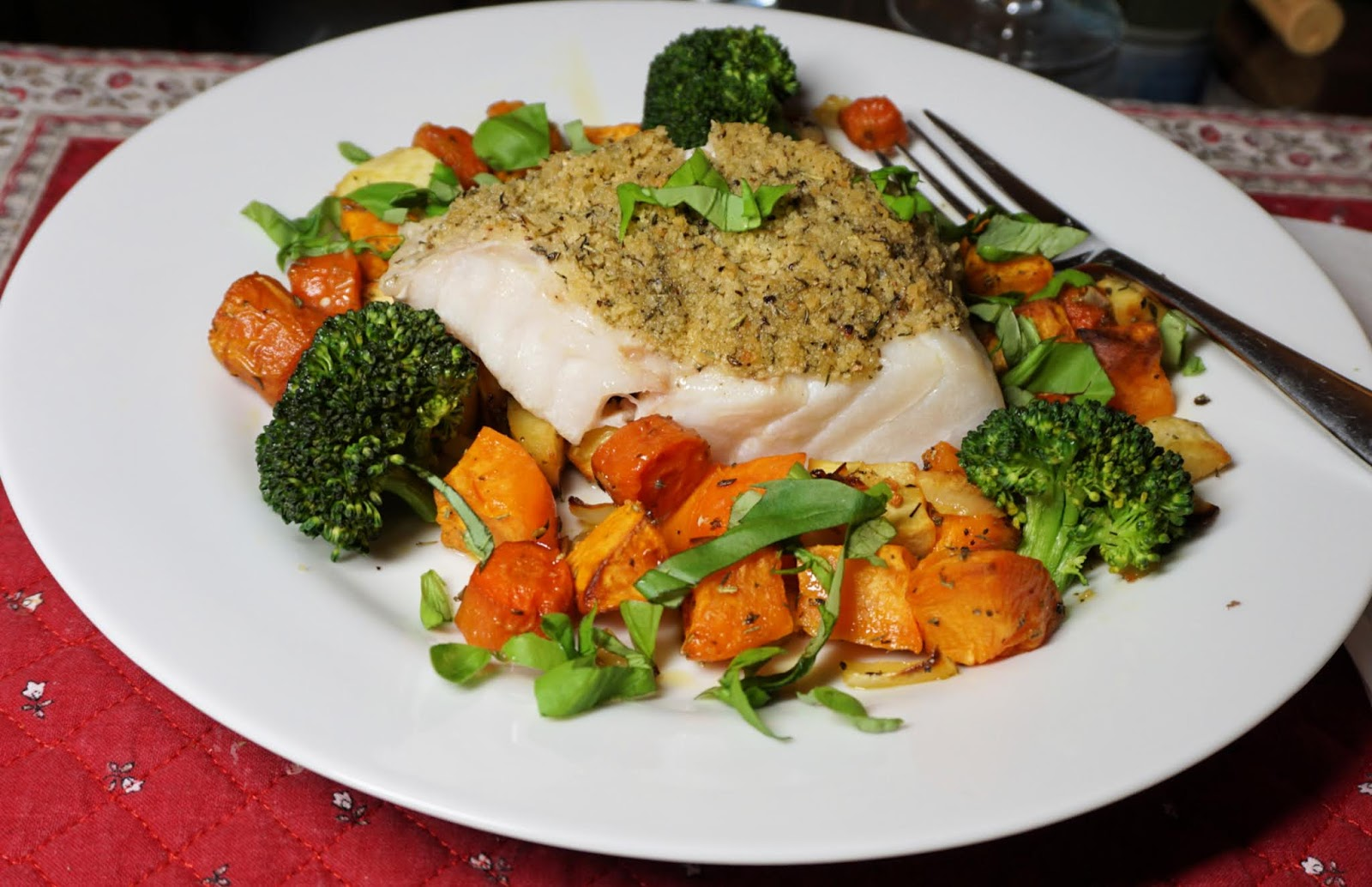 Cod surrounded with roasted vegetables