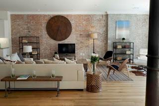 sala moderna paredes piedra