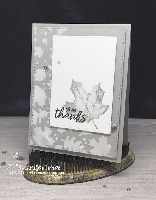 Give Thanks Card by Jennifer Timko | Falling Leaves Stencil and Shades of Autumn Stamp Set by Newton's Nook Deisgns #newtonsnook #handmade