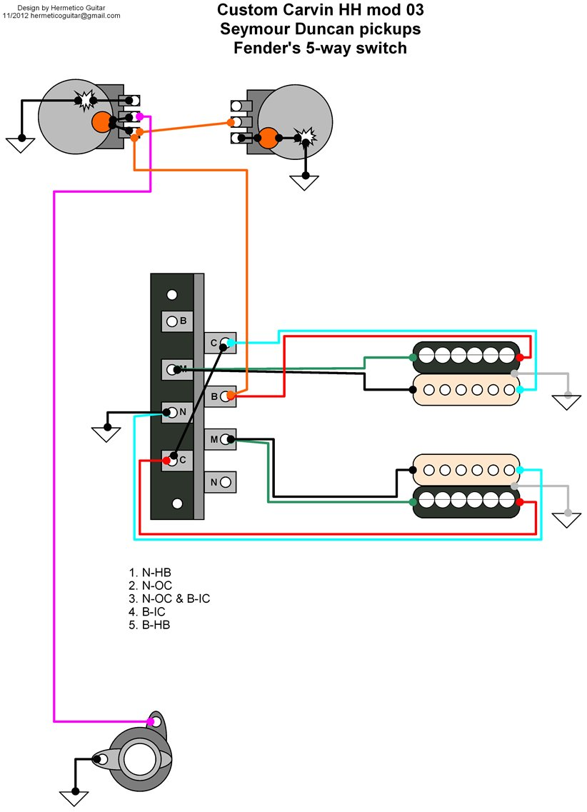 Hermetico Guitar: Wiring Diagram: Custom Carvin mods 02 and 03