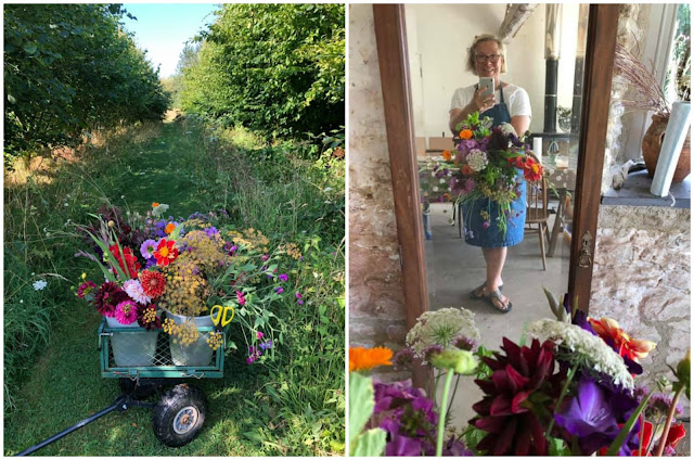 Georgie's flower preparation: early morning trolley in the shade and checking the final sheaf